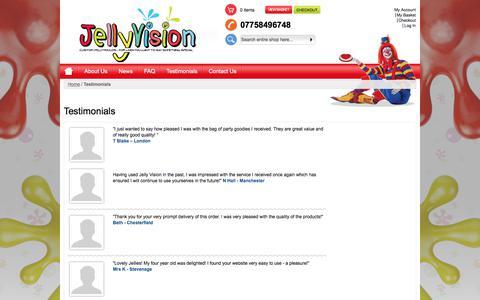 Screenshot of Testimonials Page jellyvision.co.uk - Testimonials - captured June 8, 2017