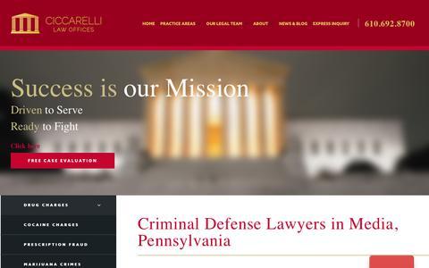 Screenshot of Press Page ciccarelli.com - Media Criminal Defense Attorney | Call For a Free Consultation | - captured Sept. 28, 2018