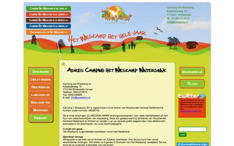 Screenshot of Contact Page wieskamp.nl - Contact gegevens Camping het Wieskamp, Winterswijk - captured Jan. 22, 2017