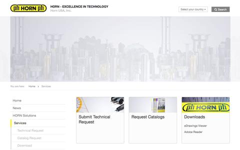 Screenshot of Services Page hornusa.com - Services » Horn USA, Inc. - EXCELLENCE IN TECHNOLOGY - captured Dec. 12, 2015