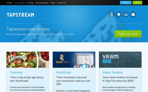 Screenshot of Case Studies Page tapstream.com - Tapstream case studies - captured Sept. 10, 2014