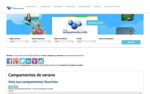 Screenshot of Home Page campamentos.info - Campamentos de verano recomendados - captured Sept. 15, 2015