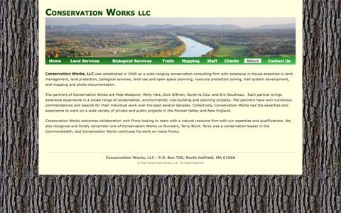 Screenshot of About Page conservationworksllc.com - Conservation Works » About - captured Sept. 30, 2014