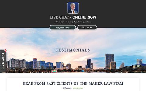 Screenshot of Testimonials Page maherlawfirm.com - Orlando Medical Malpractice Attorney | Testimonials - captured July 9, 2018