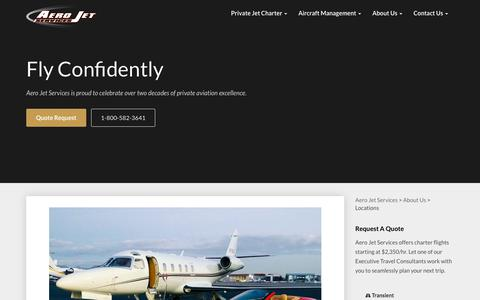 Screenshot of Locations Page aerojetservices.com - Aero Jet Services Locations - Jet Charter Locations - Private Jet Hubs | Aero Jet Services - captured July 28, 2018