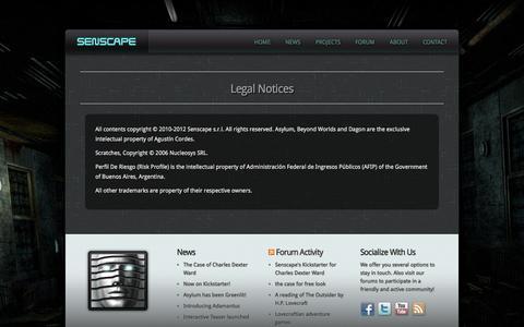 Screenshot of Terms Page senscape.net - Legal Notices | Senscape - captured Oct. 26, 2014