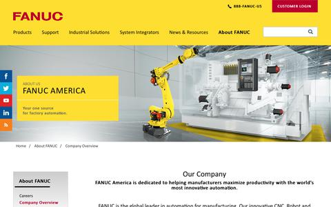 Screenshot of About Page fanucamerica.com - FANUC Company Overview | FANUC America - captured April 28, 2018