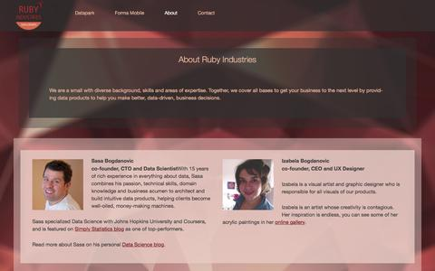 Screenshot of About Page rubyind.com - About Ruby Industries | Ruby Industries - captured Feb. 17, 2016
