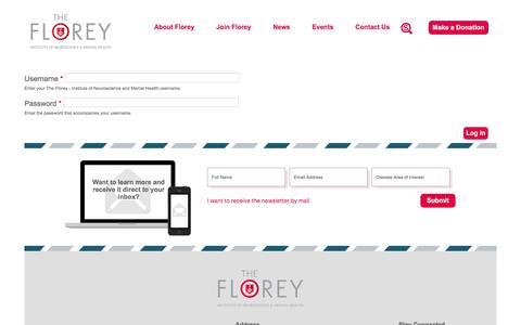 Screenshot of Login Page florey.edu.au - User account | The Florey - Institute of Neuroscience and Mental Health - captured April 4, 2017