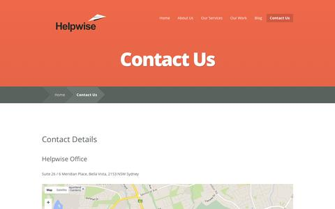 Screenshot of Contact Page helpwise.com.au - Contact Us - Helpwise Website Services - captured March 4, 2016