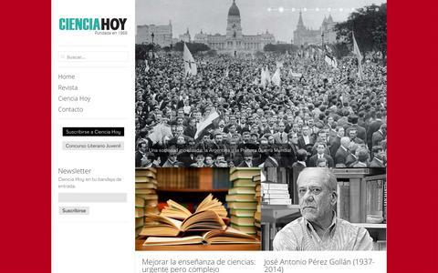 Screenshot of Home Page cienciahoy.org.ar - Ciencia Hoy Ciencia Hoy » Divulgamos el estado actual y los avances logrados en la producción científica y tecnológica de la Argentina. - captured Sept. 23, 2014