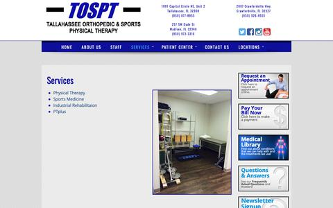 Screenshot of Services Page tospt.com - Tallahassee Orthopedic & Sports Physical Therapy  » Services - captured Oct. 20, 2018