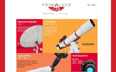 Screenshot of Home Page primalucelab.com - PrimaLuceLab - captured Sept. 12, 2015
