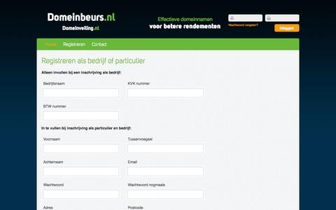 Screenshot of Signup Page domeinbeurs.nl - Domeinbeurs.nl - captured Oct. 27, 2014