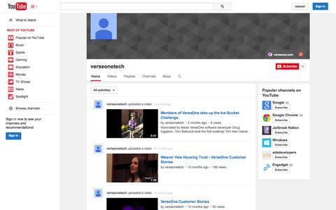Screenshot of YouTube Page youtube.com - verseonetech  - YouTube - captured Nov. 3, 2014