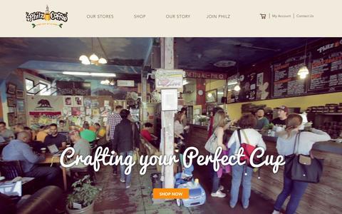 Screenshot of Home Page philzcoffee.com - Philz Coffee - captured Feb. 6, 2016