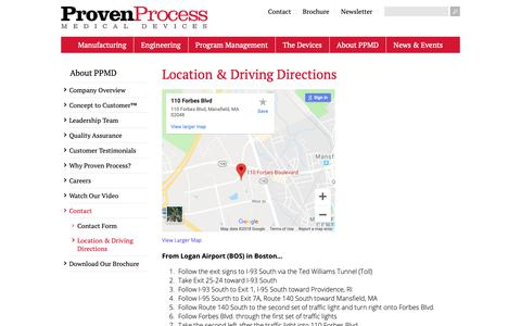 Screenshot of Maps & Directions Page provenprocess.com - Location & Driving Directions | Proven Process Medical Devices - captured Nov. 11, 2018