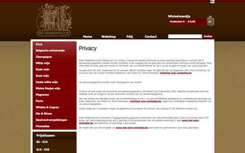 Screenshot of Privacy Page het-wijn-winkeltje.be - e-commerce - captured July 19, 2018