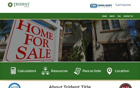 Screenshot of Home Page tridenttitlellc.com - Trident Title | a Member of The Florida Agency Network � FAN - captured Jan. 8, 2016