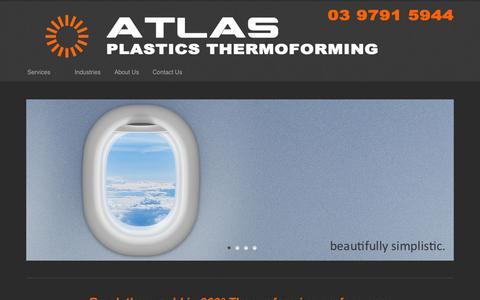 Screenshot of Home Page atlasthermoforming.com.au - Atlas Plastics Thermoforming - Mass Transit Interiors - captured Oct. 4, 2014