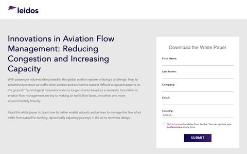 Screenshot of Landing Page leidos.com - White Paper: Innovations in Aviation Flow Management | Leidos - captured Jan. 29, 2019