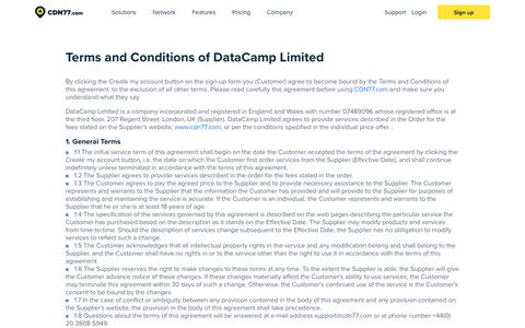 Screenshot of Terms Page cdn77.com - Terms And Conditions | CDN77.com - captured June 29, 2018