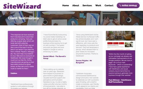 Screenshot of Testimonials Page sitewizard.co.uk - Client Testimonials | SiteWizard - captured Oct. 25, 2018