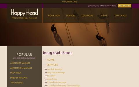 Screenshot of Site Map Page happyheadmassage.com - Happy Head Sitemap - captured Oct. 2, 2014