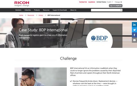 Screenshot of Case Studies Page ricoh-usa.com - BDP International - captured Jan. 3, 2019