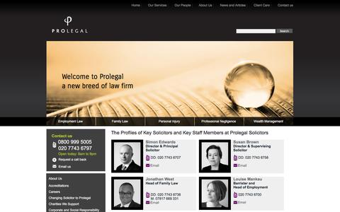 Screenshot of Team Page prolegal.co.uk - The Profiles of Key Solicitors and Key Staff Members at Prolegal Solicitors -  from Prolegal Solicitors - captured July 18, 2016