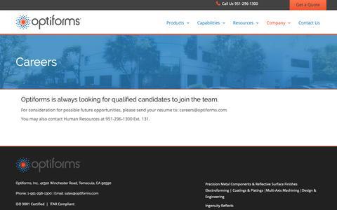 Screenshot of Jobs Page optiforms.com - Careers | Optiforms, Inc. - captured Oct. 18, 2018