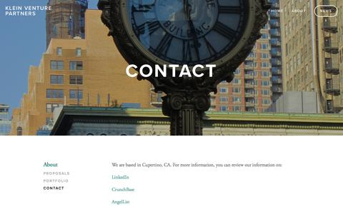Screenshot of Contact Page kleinvp.com - Contact — Klein Venture Partners - captured Feb. 12, 2016
