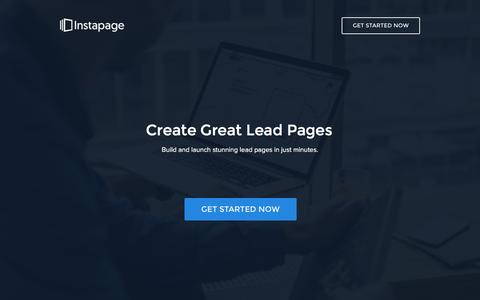 Screenshot of Landing Page instapage.com - The #1 Lead Page Platform - captured Aug. 19, 2016