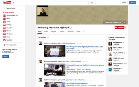 Screenshot of YouTube Page youtube.com - McElhinny Insurance Agency LLC  - YouTube - captured Nov. 3, 2014
