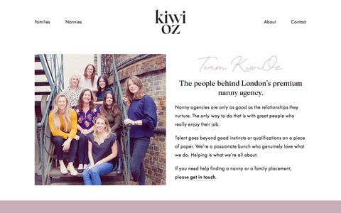 Screenshot of Team Page kiwioznannies.co.uk - Meet the KiwiOz Team — KiwiOz Nannies - captured July 18, 2019