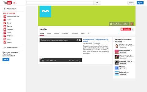 Screenshot of YouTube Page youtube.com - Neebo  - YouTube - captured Oct. 26, 2014