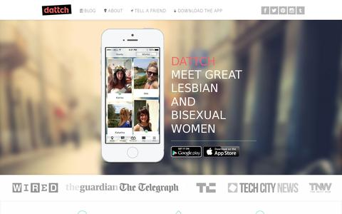 Screenshot of Home Page dattch.com - Dattch - lesbian dating app and social network for gay, queer, bisexual and bicurious women - captured July 17, 2014
