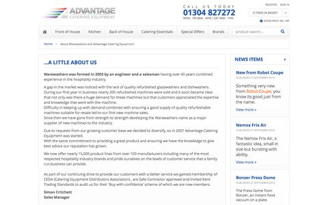 Screenshot of About Page advantage-catering-equipment.co.uk - About Warewashers and Advantage Catering Equipment - captured Sept. 30, 2014