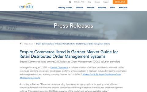Screenshot of Team Page envistacorp.com - enVista's Enspire Commerce listed in Gartner Market Guide for DOM - captured Feb. 20, 2020