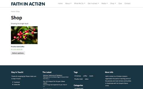 Screenshot of Products Page fiaministries.com - Faith in Action |   Products - captured Oct. 6, 2014