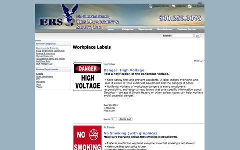 Screenshot of Products Page ers-usa.com - Environmental, Risk Management & Safety, Inc. - Labels - captured Oct. 2, 2014