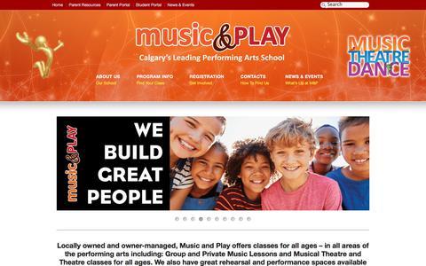 Screenshot of Home Page musicandplay.ca - Music and Play Canada Inc. - captured Feb. 2, 2020