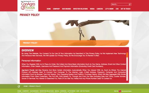 Screenshot of Privacy Page atfoods.com - Privacy Policy - captured Feb. 5, 2016