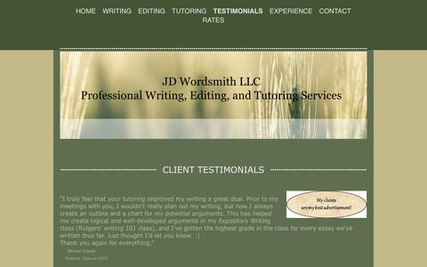 Screenshot of Testimonials Page jdwordsmith.com - Jane DeTullio, JD Wordsmith - captured Nov. 18, 2016