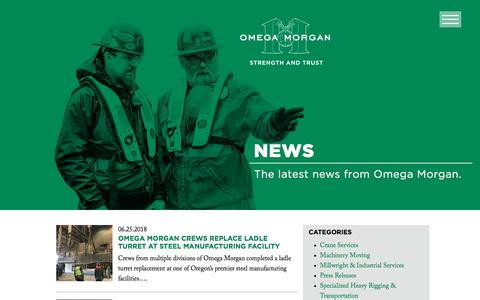 Screenshot of Press Page omegamorgan.com - News - captured July 12, 2018
