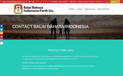Screenshot of Contact Page balaibahasaperth.org - Contact Us » Balai Bahasa Indonesia Perth - captured Oct. 5, 2018