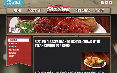 Screenshot of Press Page sizzler.com - Newsroom - Sizzler - captured Sept. 19, 2014