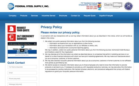 Screenshot of Privacy Page fedsteel.com - Privacy Policy | Steel Supply | Pipe & Tube | Carbon, Alloy, Stainless Steel | Federal Steel Supply - 800.325.1584 - captured Feb. 9, 2016