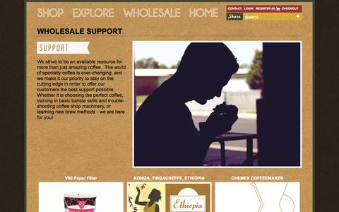 Screenshot of Support Page beansmith.com - Wholesale Support | Training | Barista |  Beansmith Coffee | Fresh Roasted in Omaha | Great Coffee Made Better - captured Oct. 5, 2014