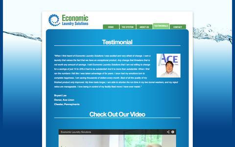 Screenshot of Testimonials Page economiclaundrysolutions.com - Testimonials - captured Sept. 30, 2014